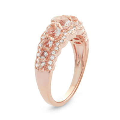 Diamonart Womens 2 CT. T.W. Lab Created Pink Cubic Zirconia 14K Gold Over Silver Cocktail Ring