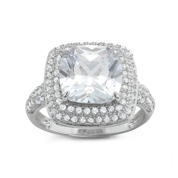Diamonart Womens 4 1/4 CT. T.W. White Cubic Zirconia Sterling Silver Cocktail Ring