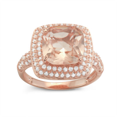 Diamonart Womens 4 1/4 CT. T.W. Lab Created Pink Cubic Zirconia 14K Gold Over Silver Halo Cocktail Ring