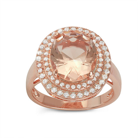 Diamonart Womens Pink Cubic Zirconia 14k Gold Over Silver Halo Cocktail Ring
