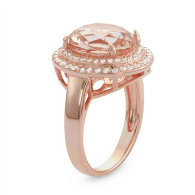 Diamonart Womens Greater Than 6 CT. T.W. Pink Cubic Zirconia 14K Gold Over Silver Cocktail Ring