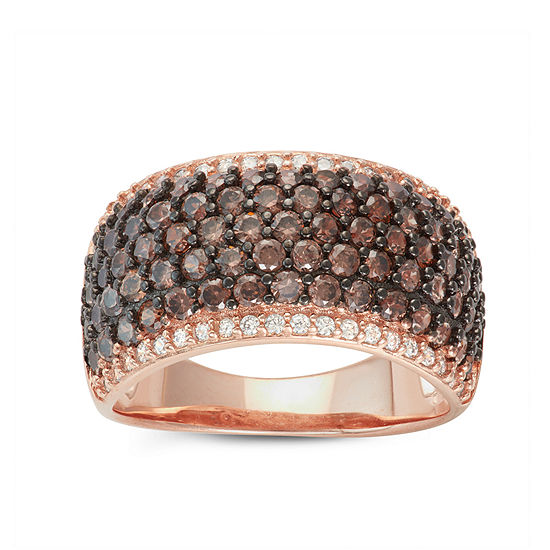 Diamonart Womens 4 3/4 CT. T.W. Lab Created Brown Cubic Zirconia 14K Gold Over Silver Cocktail Ring