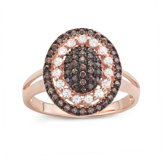 Diamonart Womens 3/4 CT. T.W. Lab Created Brown Cubic Zirconia 14K Gold Over Silver Cocktail Ring