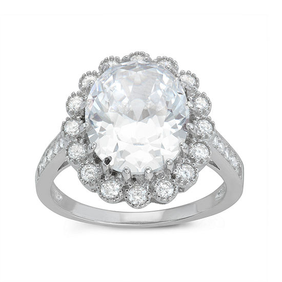 Diamonart Womens 6 Ct Tw Lab Created White Cubic Zirconia Sterling Silver Halo Cocktail Ring