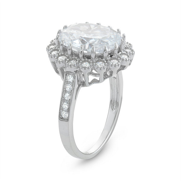 Diamonart Womens 6 Ct.T.W. Lab Created White Cubic Zirconia Sterling Silver Cocktail Ring
