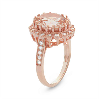 Diamonart Womens 6 CT. T.W. Pink Cubic Zirconia 14K Gold Over Silver Cocktail Ring