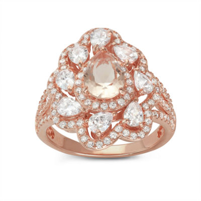 Diamonart Womens 3 1/2 CT. T.W Lab Created Pink Cubic Zirconia 14K Gold Over Silver Cocktail Ring