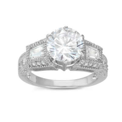 Diamonart Womens 3 1/2 CT. T.W Lab Created White Cubic Zirconia Sterling Silver Cocktail Ring