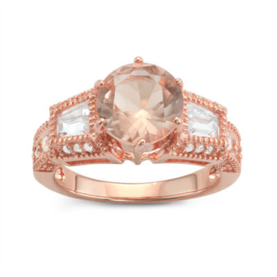 Diamonart Womens 3 1/2 CT. T.W Pink Cubic Zirconia 14K Gold Over Silver Cocktail Ring