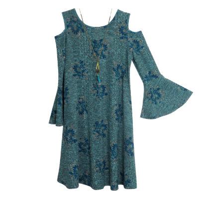Lilt Long Sleeve Cold Shoulder Sleeve Party Dress - Big Kid Girls