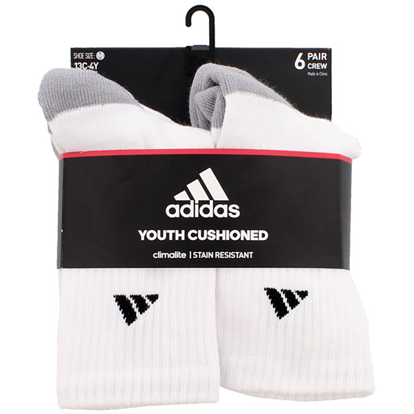 adidas Big Boys 6 Pair Crew Socks