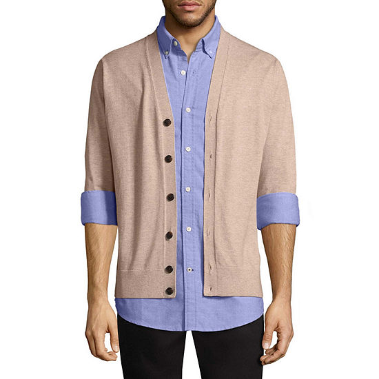 St. John's Bay Mens Y Neck Long Sleeve Cardigan