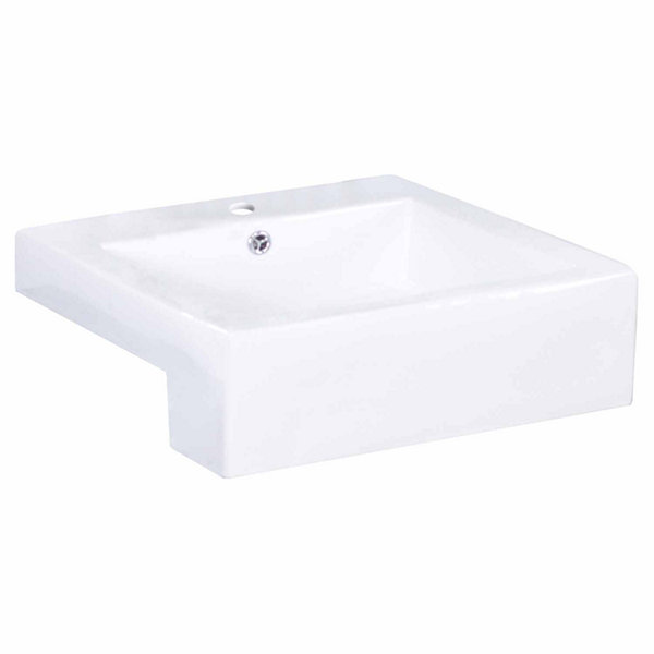 American Imaginations 20.25-in. W Semi-Recessed White Vessel Set For 1 Hole Center Faucet - Faucet Included