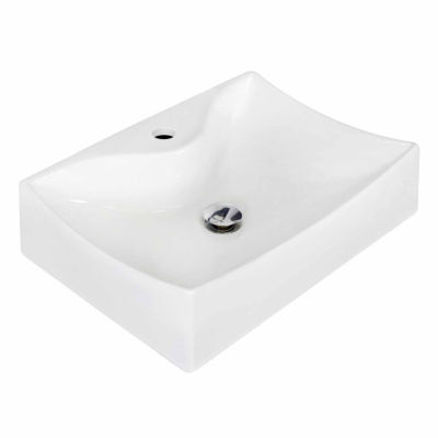 American Imaginations 21.5-in. W Above Counter White Vessel Set For 1 Hole Center Faucet - Faucet Included