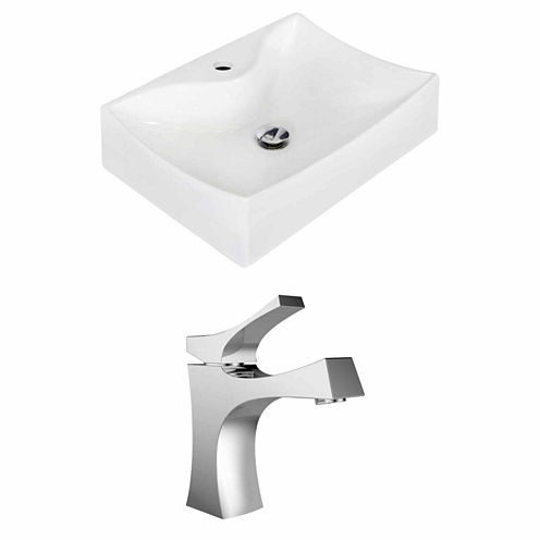 American Imaginations 21.5-in. W Wall Mount WhiteVessel Set For 1 Hole Center Faucet - Faucet Included