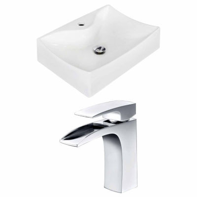 American Imaginations 21.5-in. W Wall Mount White Vessel Set For 1 Hole Center Faucet - Faucet Included
