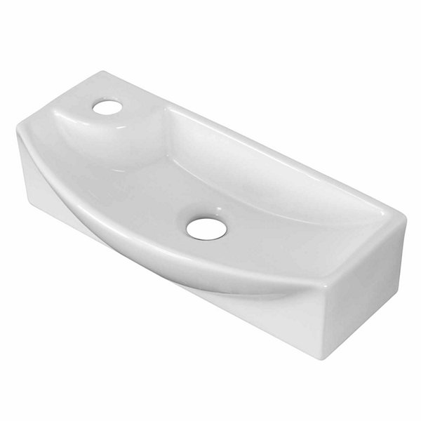 American Imaginations 17.75-in. W Above Counter White Vessel Set For 1 Hole Left Faucet - Faucet Included