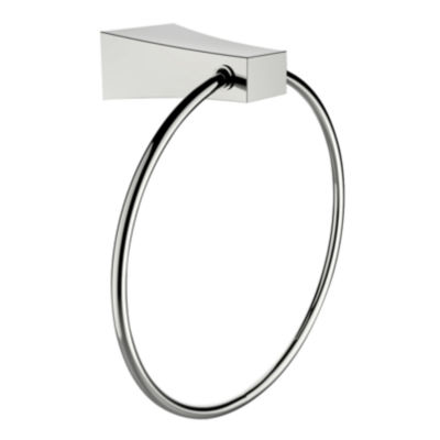 American Imaginations Chrome Plated Towel Ring With Single Rod Towel Rack Accessory Set