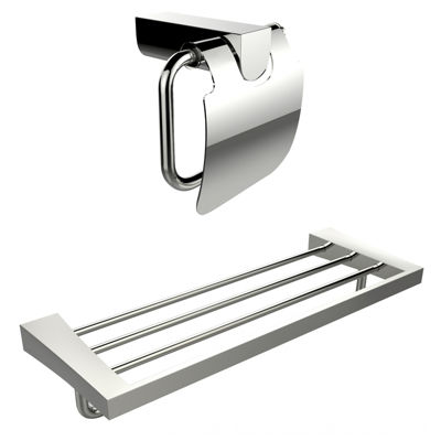 American Imaginations Chrome Plated Toilet Paper Holder With Multi-Rod Towel Rack Accessory Set