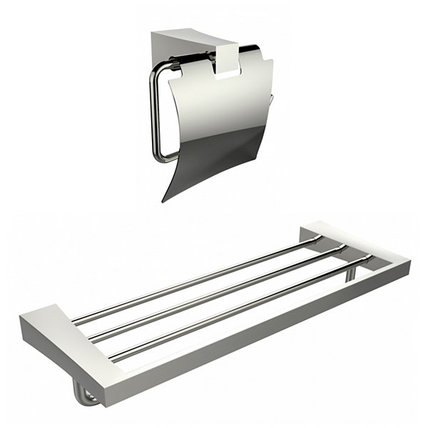 American Imaginations Multi-Rod Towel Rack With AChrome Plated Toilet Paper Holder Accessory Set