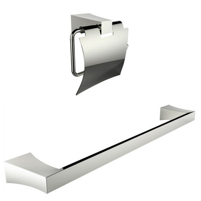 American Imaginations Chrome Plated Toilet Paper Holder With Single Rod Towel Rack Accessory Set