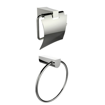 American Imaginations Chrome Plated Towel Ring With Toilet Paper Holder Accessory Set
