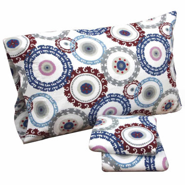 Tribeca Living Medallion Floral Flannel Sheet Set