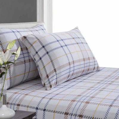 Tribeca Living Modern Plaid Luxury Flannel Sheet Set
