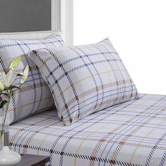 Tribeca Living Modern Plaid Luxury Flannel Sheet Set
