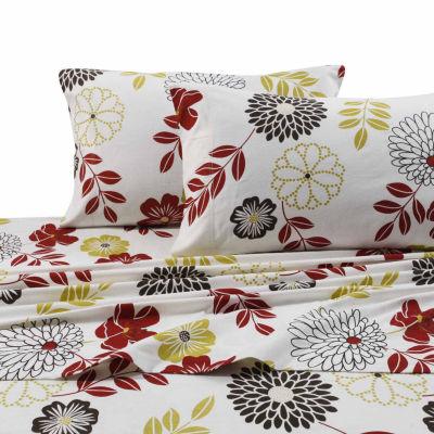 Tribeca Living Flannel Floral Flannel Sheet Set