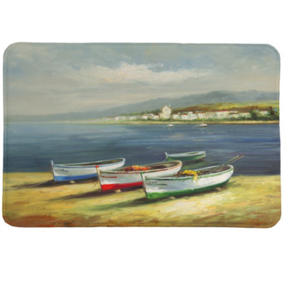 Laural Home Boats On The Beach Memory Foam Bath Rug