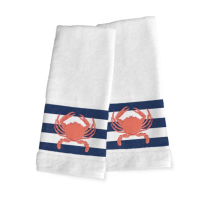 Laural Home Crab Stripe 2-pc. Hand Towel