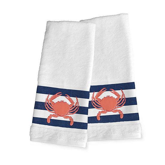 Laural Home Crab Stripe 2-pc. Beach + Nautical Hand Towel