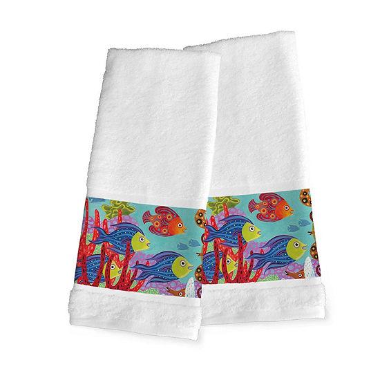 Laural Home Fish In The Hood 2-pc. Beach + Nautical Hand Towel