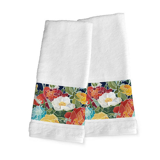 Laural Home Midnight Floral 2-pc. Floral Hand Towel