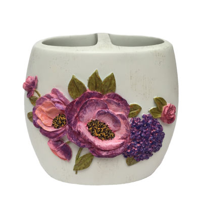 Laural Home Purple Floral Garden Toothbrush Holder