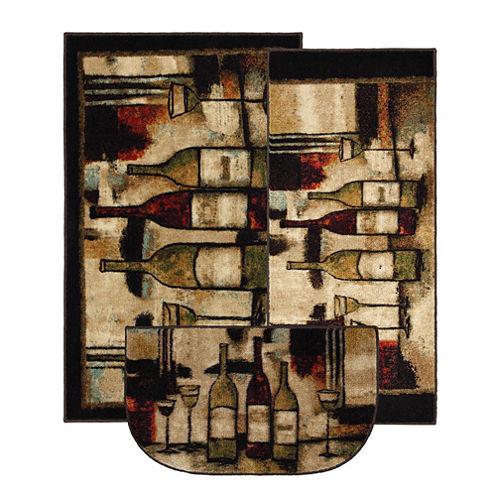 Mohawk Home New Wave Wine And Glasses Printed Rectangular 3-pc. Rug Set