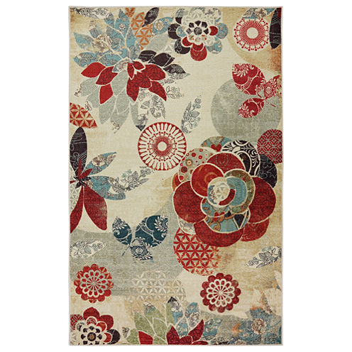 Mohawk Home Strata Geo Floral Pattern Printed Rectangular Rugs