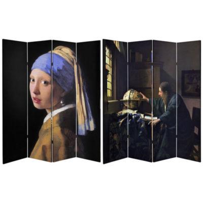 Oriental Furniture 6' Works Of Vermeer Room Divider