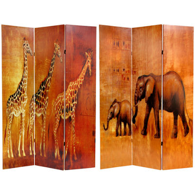 Oriental Furniture 6' Giraffe And Elephant Room Divider