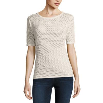 Liz Claiborne Short Sleeve Scoop Neck Pullover Sweater