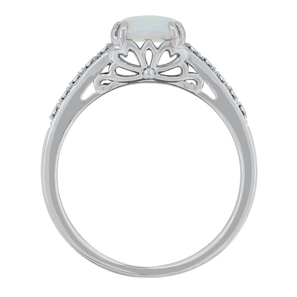 Womens Lab-Created Opal & Lab-Created White Sapphire Sterling Silver Cocktail Ring