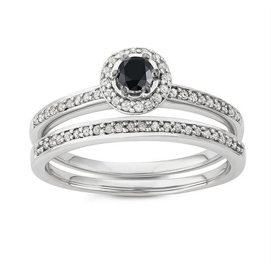 Womens 1/2 CT. T.W. Genuine Black Diamond 10K Gold Round Bridal Set