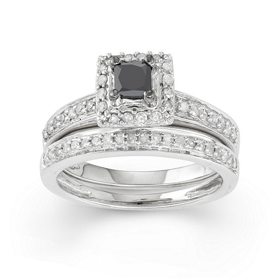 Womens 1 2 Ct Tw Genuine Black Diamond 10k Gold Square Bridal Set