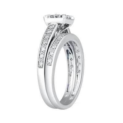 Hallmark Bridal Womens 1/2 CT. T.W. Genuine Diamond 10K Gold Bridal Set