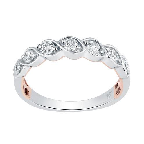 Hallmark Bridal Womens 1/2 CT. T.W. Genuine White Diamond 10K Gold Band
