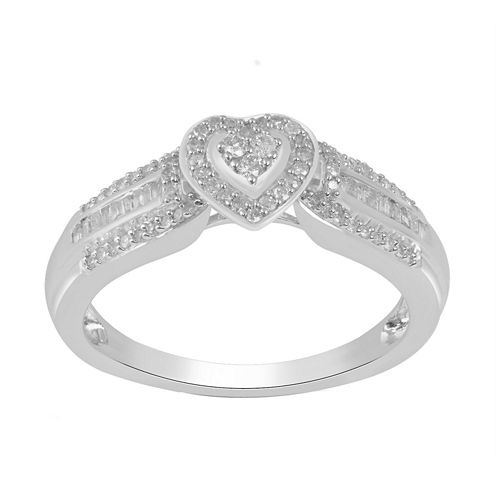 Womens 1/4 CT. T.W. Genuine Baguette White Diamond Sterling Silver Promise Ring