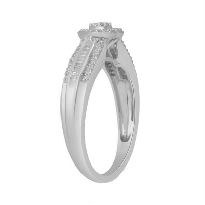 Promise My Love Womens 1/4 CT. T.W. Baguette White Diamond Sterling Silver Promise Ring
