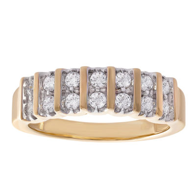 Womens 1/2 CT. T.W. Genuine Diamond 10K Gold Round Wedding Band