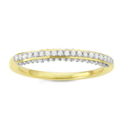 Womens 1/3 CT. T.W. Genuine White Diamond 14K Gold Over Silver Anniversary Band